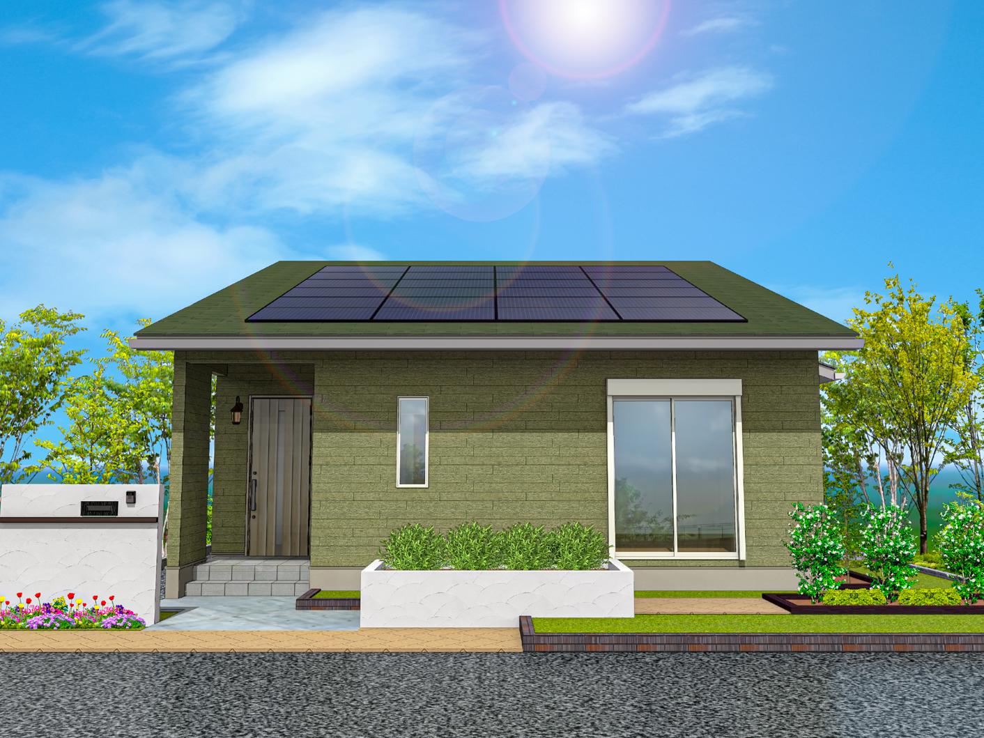 太陽光発電パネルの平屋