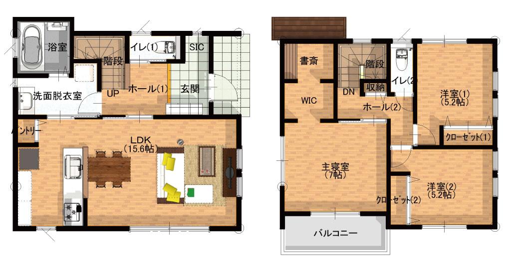 二階建て規格住宅の間取り図
