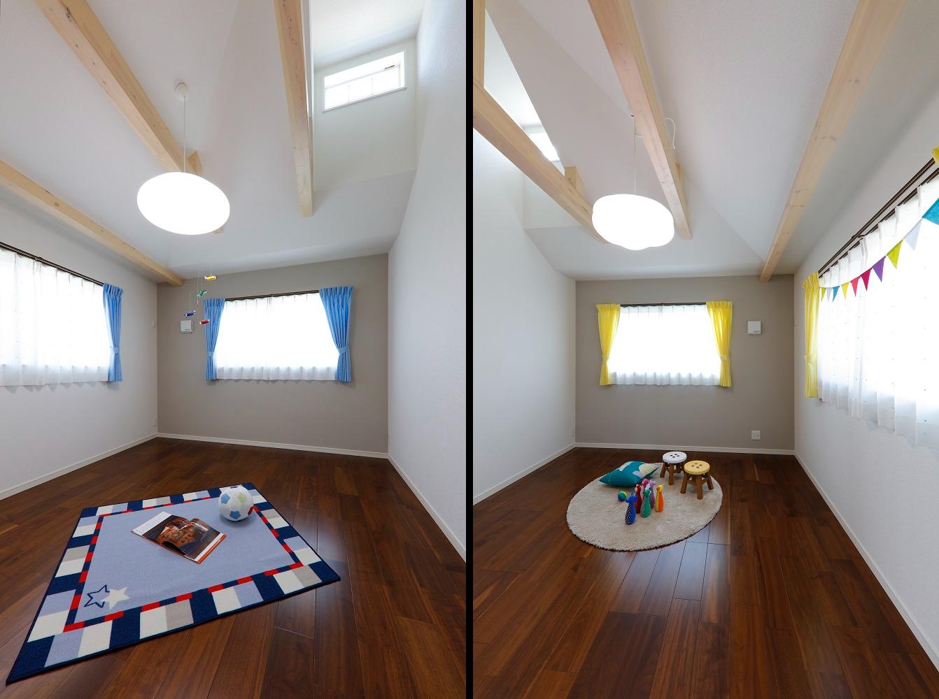 子供部屋の梁見せ天井