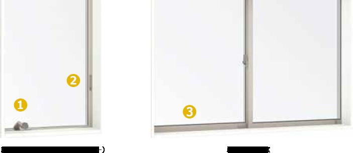 縦すべり出し窓(オペレーター)、単体引違い窓